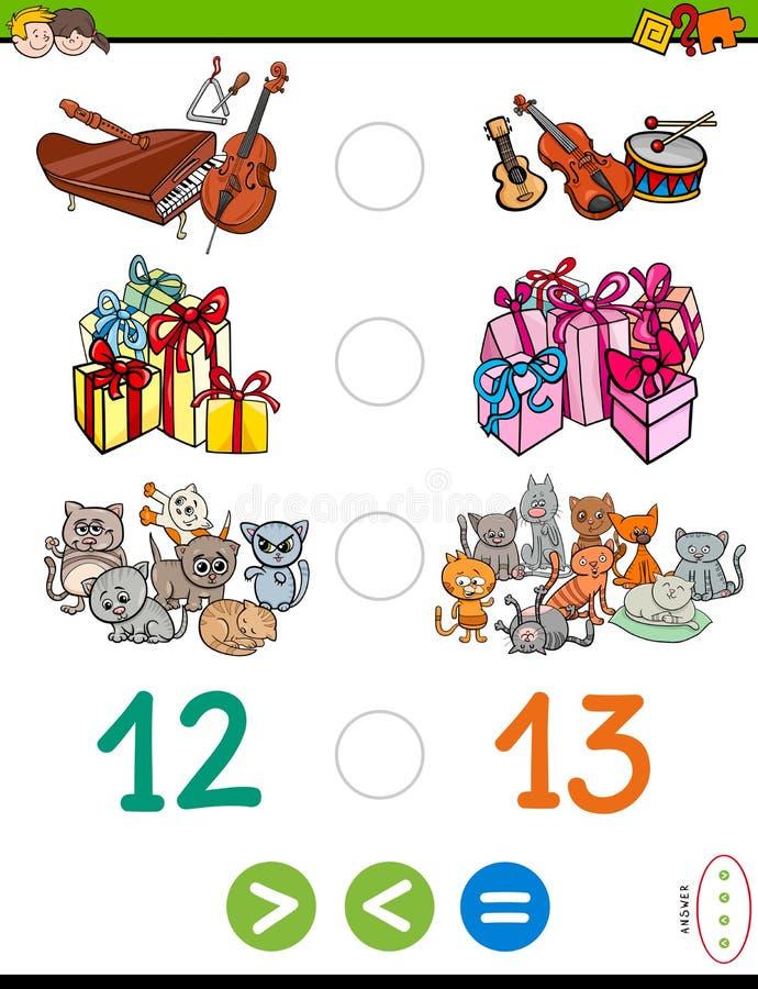 Größer kleiner oder gleiches Rätselspiel für Kinder lizenzfreie abbildung