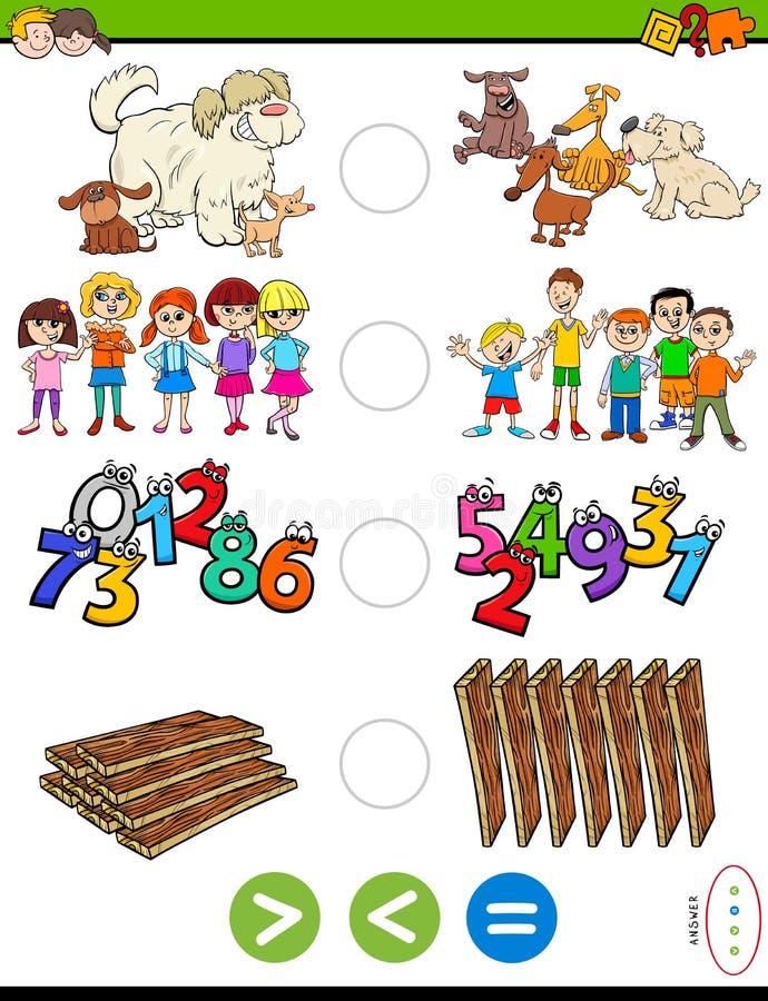 Größer weniger oder gleiches pädagogisches Rätselspiel lizenzfreie abbildung
