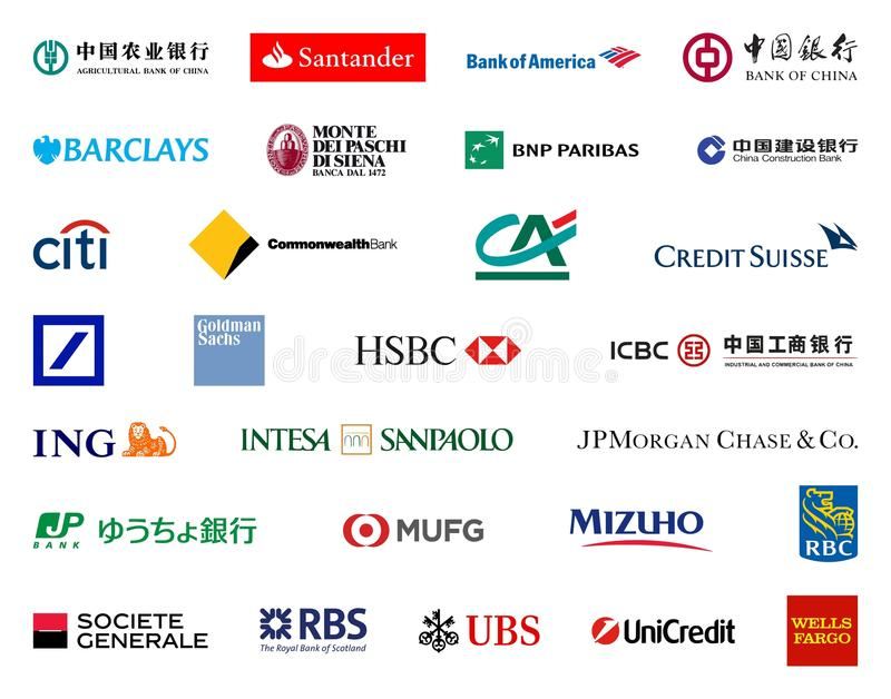 Größte Banken in den Weltlogos lizenzfreie abbildung