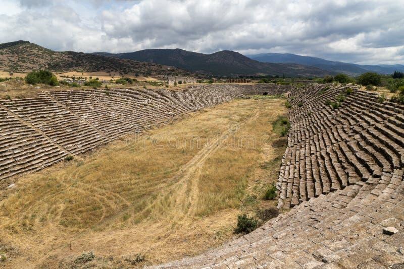 Größtes altes Stadion Afrodisias, Stadt der Liebe, Aphrodite, die Türkei-Ruinen lizenzfreie stockfotografie