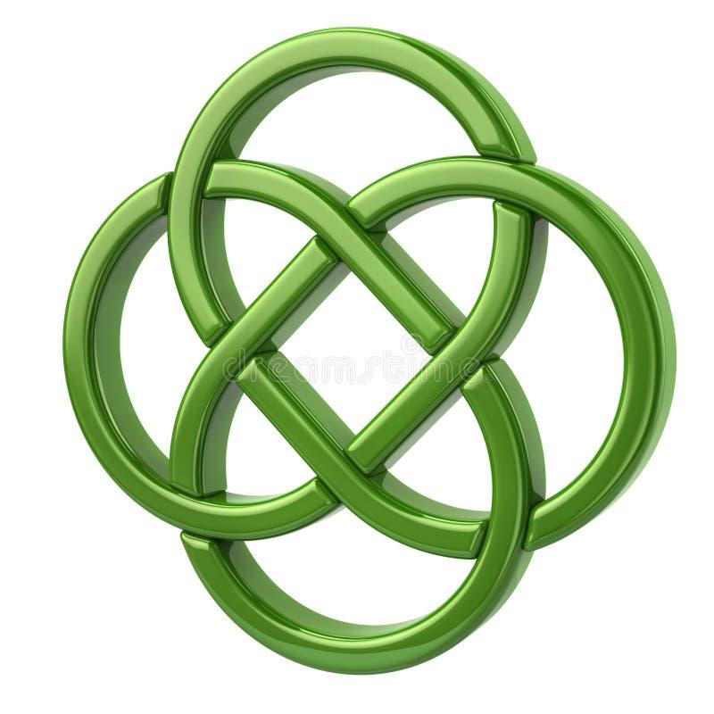 Grön ändlös celtic fnuren stock illustrationer