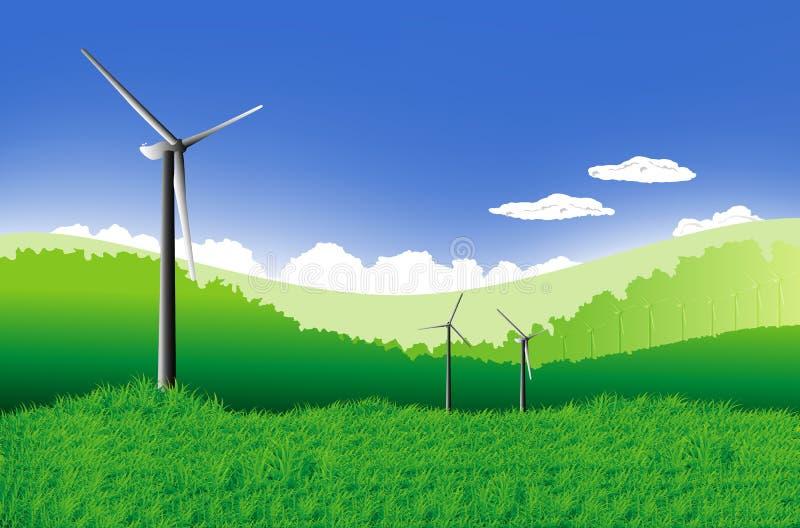 Grön äng stock illustrationer