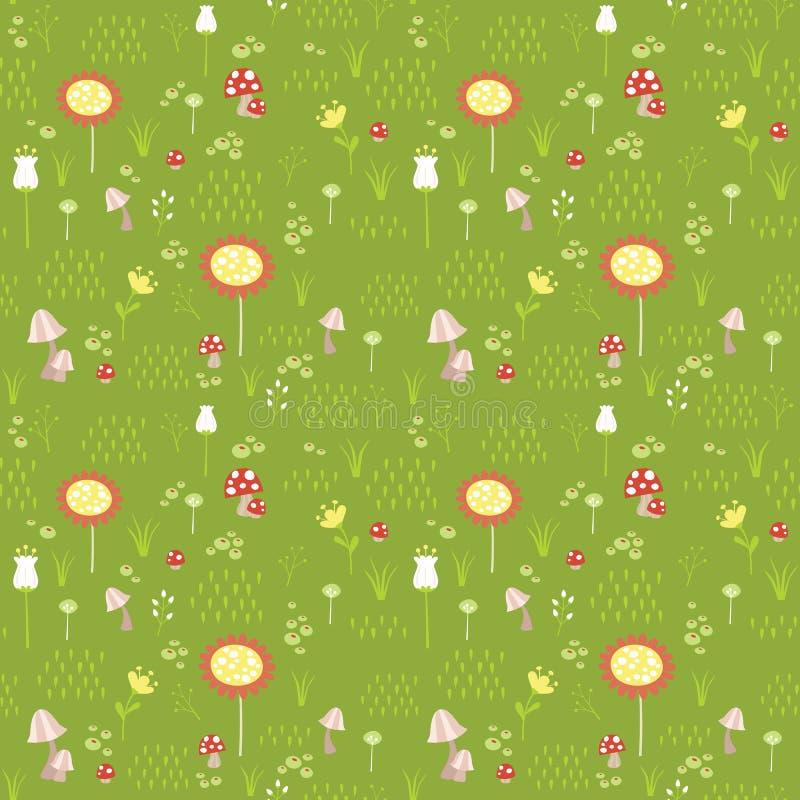 Grön äng med gula blommor, champinjoner, bär och illustrationen för vektor för sömlös modell för gräs den plana stock illustrationer