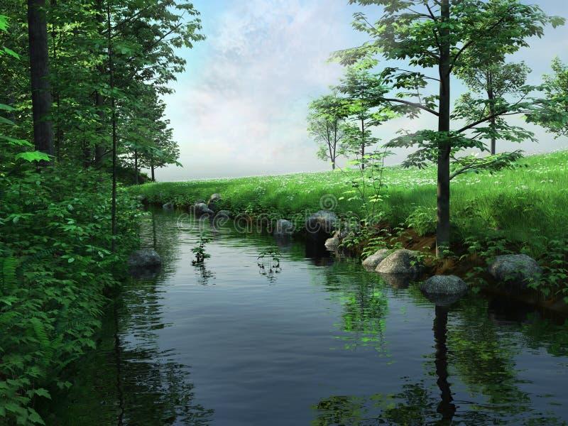 Grön äng och flod royaltyfri illustrationer