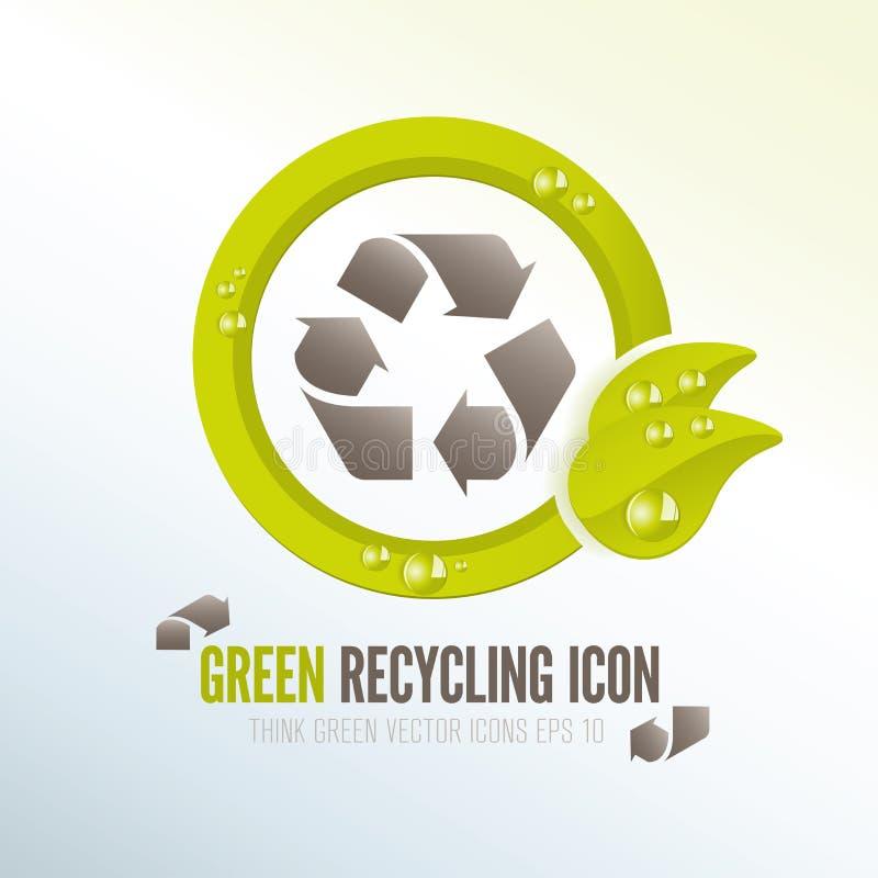 Grön återvinningsymbol för ecologic förlorad ledning vektor illustrationer