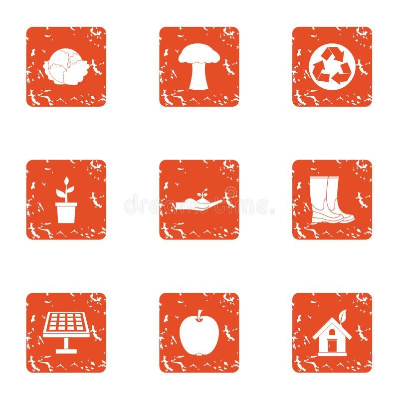 Grön återvinningsymbolsuppsättning, grungestil royaltyfri illustrationer