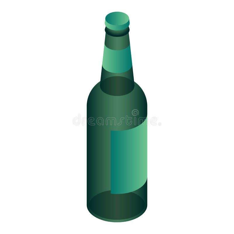 Grön ölflaskasymbol, isometrisk stil royaltyfri illustrationer