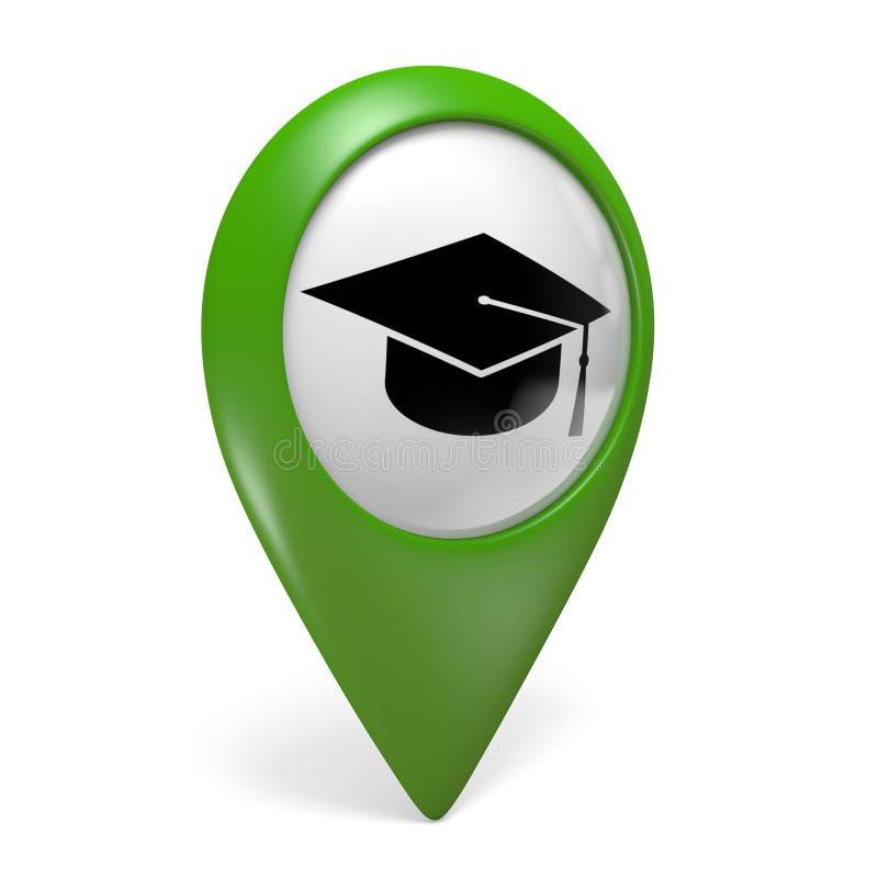 Grön översiktspekaresymbol med ett akademikert locksymbol för högskolor och universitet vektor illustrationer