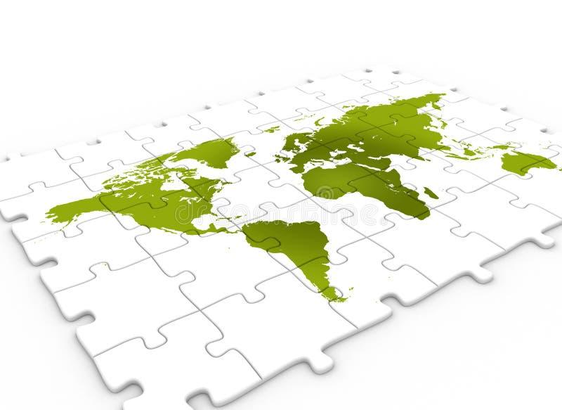 grön översiktspusselvärld stock illustrationer