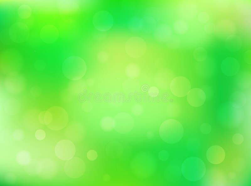 Grön abstrakt bokehbakgrund vektor illustrationer