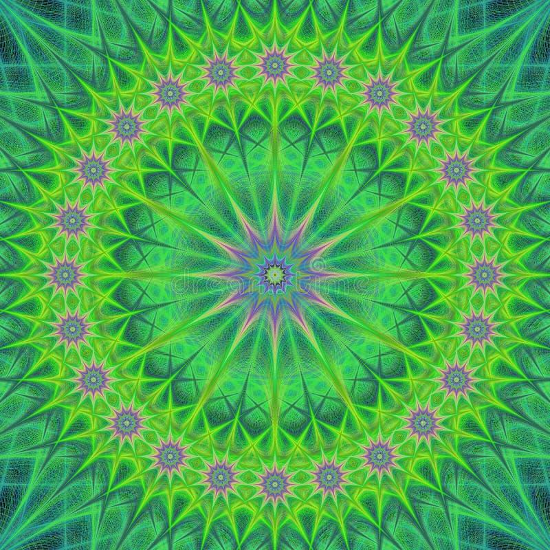 Grön abstrakt design för mandalastrukturbakgrund royaltyfri illustrationer