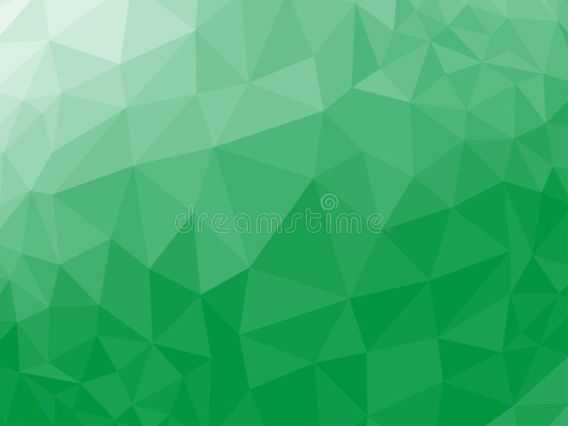 Grön abstrakt geometrisk rufsad till triangulär låg poly bakgrund för diagram för stilvektorillustration stock illustrationer