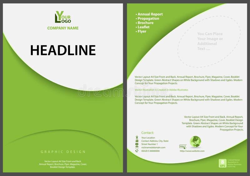 Grön abstrakt reklambladmall med modern enkel design stock illustrationer