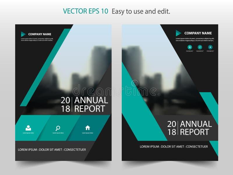 Grön abstrakt vektor för mall för design för triangelårsrapportbroschyr Affisch för tidskrift för affärsreklamblad infographic royaltyfri illustrationer