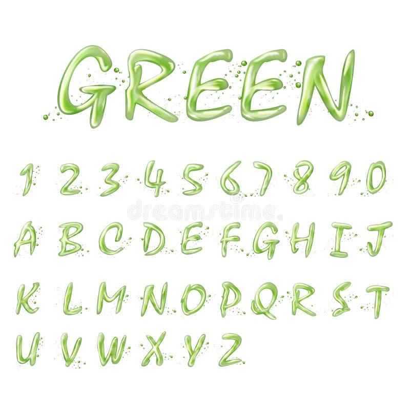 Grön alfabet- och nummersamling för flytande royaltyfri illustrationer