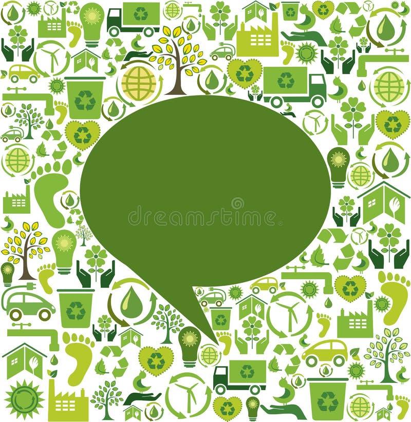 Grön anförandebubbla vektor illustrationer