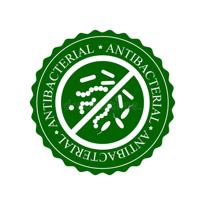 Grön Antibacterial symbol, emblem eller etikett som isoleras på vit bakgrund royaltyfri illustrationer