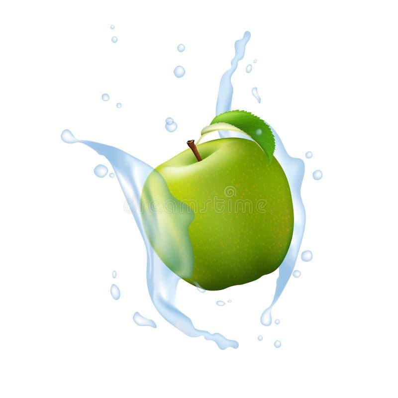 Grön Apple frukt mjölkar vatten Juice Yogurt Splash Illustration Is vektor illustrationer