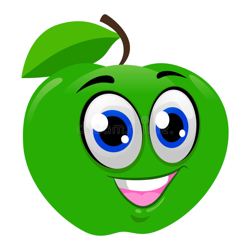 Grön Apple maskot vektor illustrationer