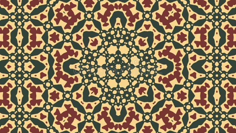 Grön arabisk prydnad -, mörkröd tracery, gul bakgrund stock illustrationer