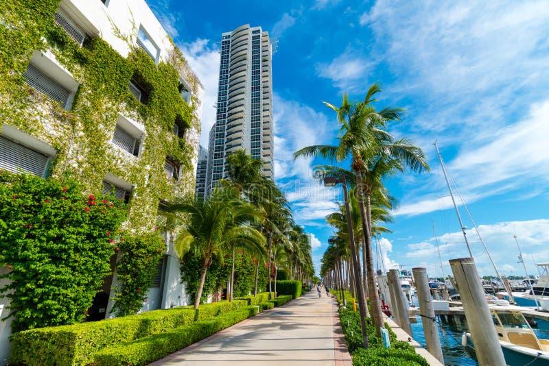 Grön arkitektur, Miami Beach lyxiga andelsfastigheter och hamn, Miami, Florida, USA royaltyfri foto