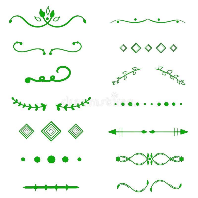 Grön avdelarvektor på vit bakgrund Handdrawn gränser Unik virvel, avdelare Färgpulver borstelinjer, lageruppsättning royaltyfri illustrationer
