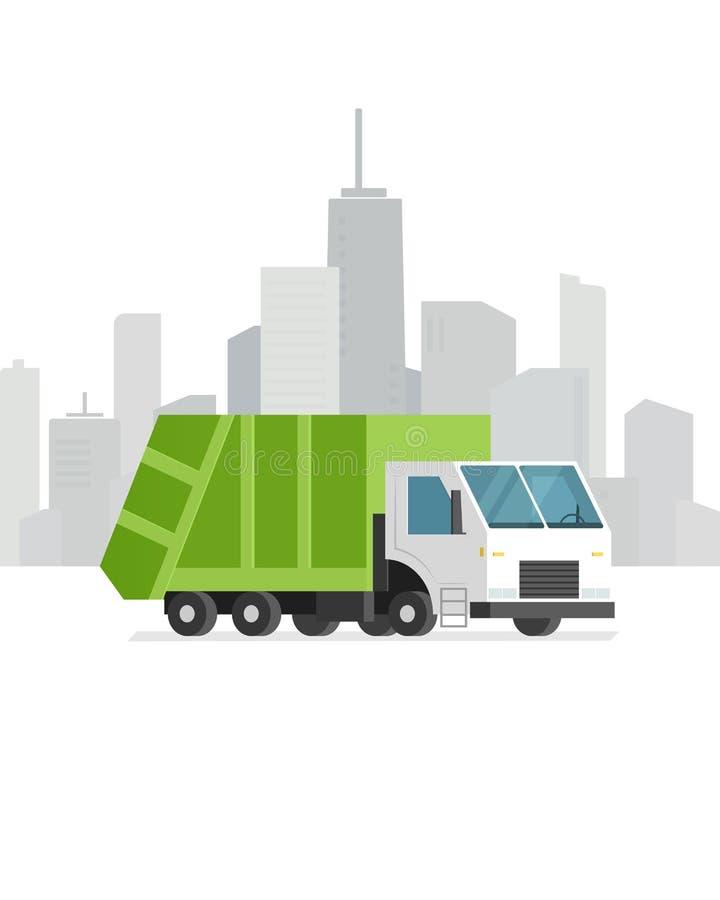 Grön avskrädelastbil vektor illustrationer