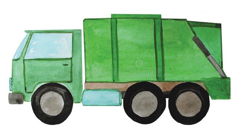 Grön avskrädelastbil, illustration royaltyfri illustrationer