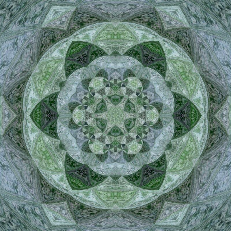 Grön ayurveda, grön mandala med vattenfärger royaltyfri illustrationer
