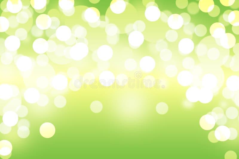 Grön bakgrund för bokehabstrakt begreppljus royaltyfri illustrationer