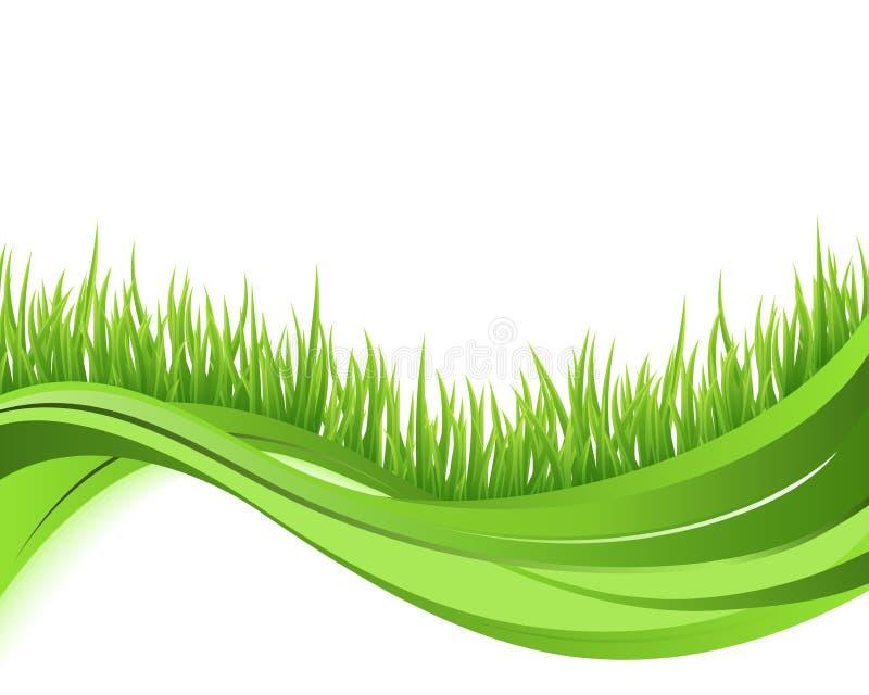 Grön bakgrund för gräsnaturwave stock illustrationer