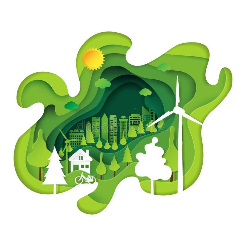 Grön bakgrund för konst för papper för ecostadsabstrakt begrepp vektor illustrationer