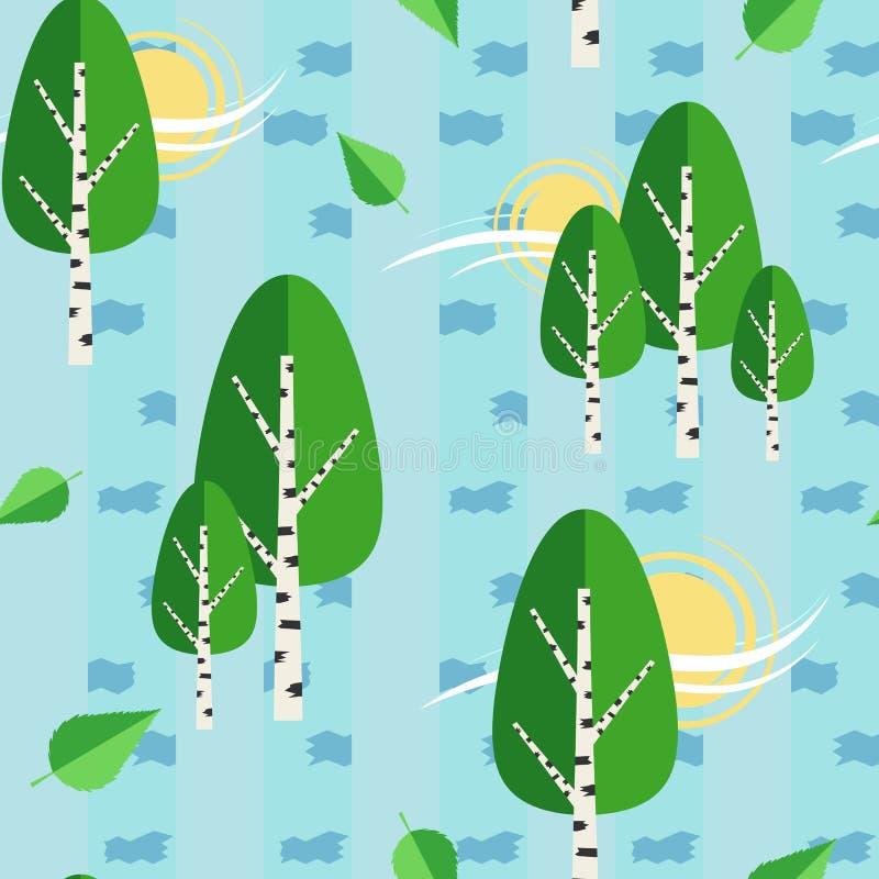 Grön bakgrund för modell för vektor för ryssbjörkträd sömlös vektor illustrationer