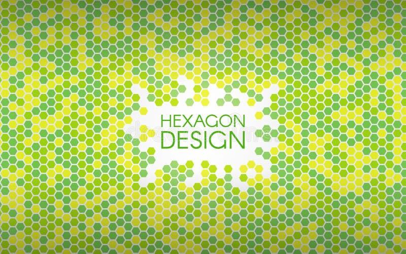 Grön bakgrund för sexhörning Färgrika mosaikformer Geometriskt idérikt begrepp Abstrakt bakgrund för färg vektor stock illustrationer