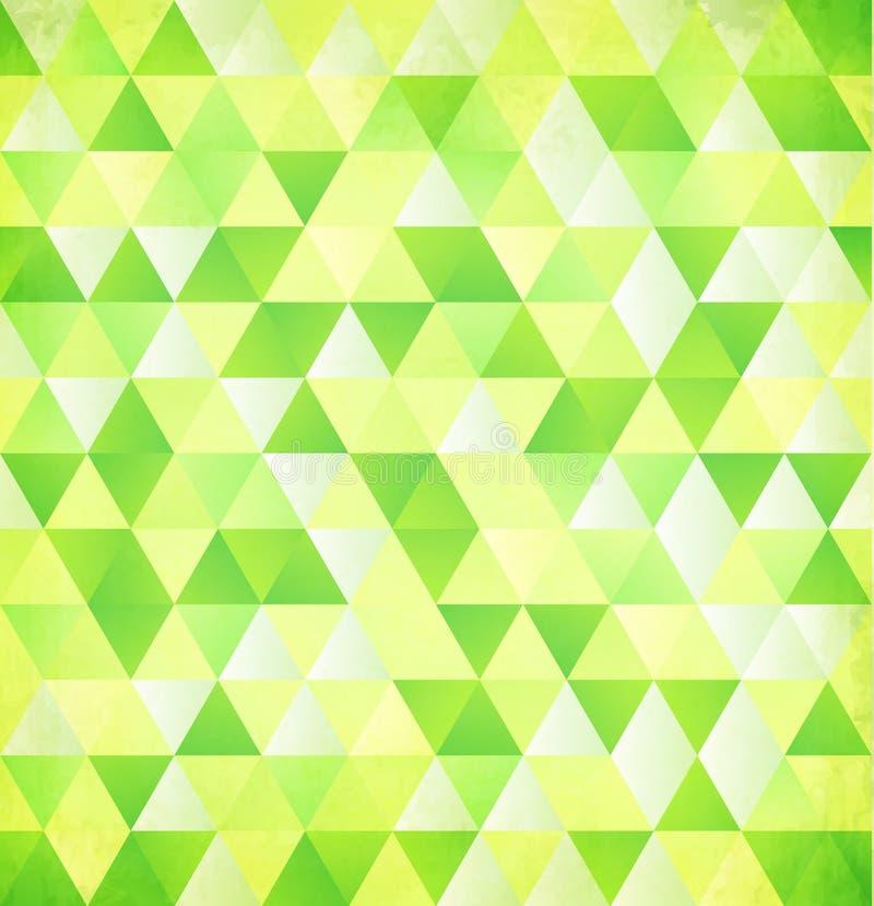 Grön bakgrund för tappning för vektorabstrakt begrepptriangel stock illustrationer
