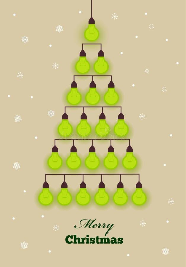 Grön bakgrund för vektor med julgranen som skapas från lightsbulbs vektor illustrationer