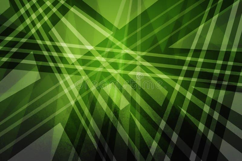 Grön bakgrund med abstrakta triangelpolygoner fodrar, och band i modern konstbakgrund planlägger stock illustrationer
