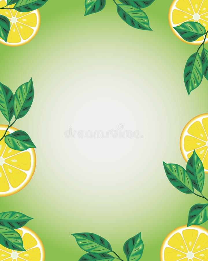 Grön bakgrund med citroner och ställe för text stock illustrationer