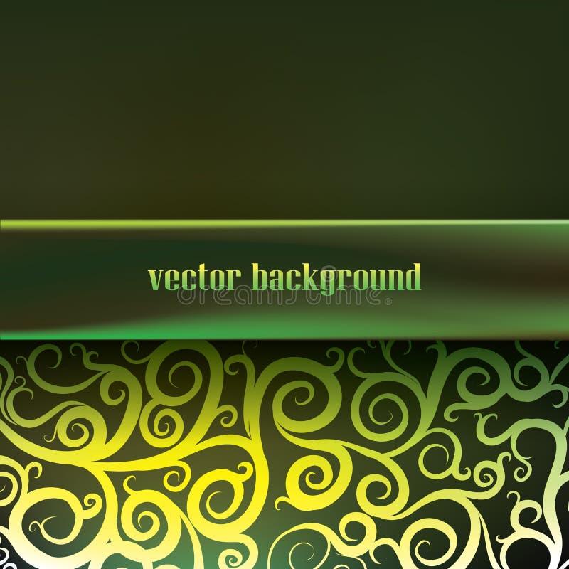 Grön bakgrund med virvlar och modeller, vektor illustrationer