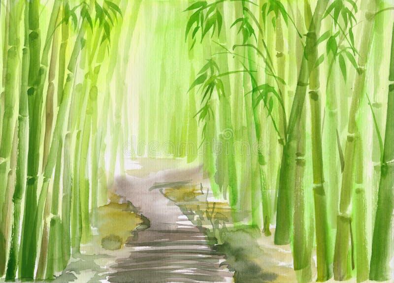 Grön bambuskog royaltyfri illustrationer