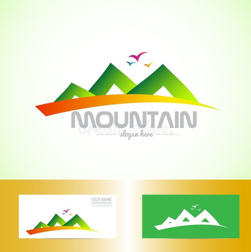 Grön berglogo royaltyfri illustrationer
