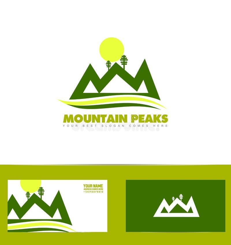 Grön berglogo vektor illustrationer