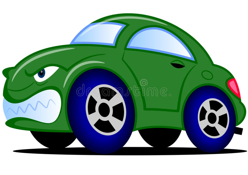 Grön bil för tecknad film arkivbild