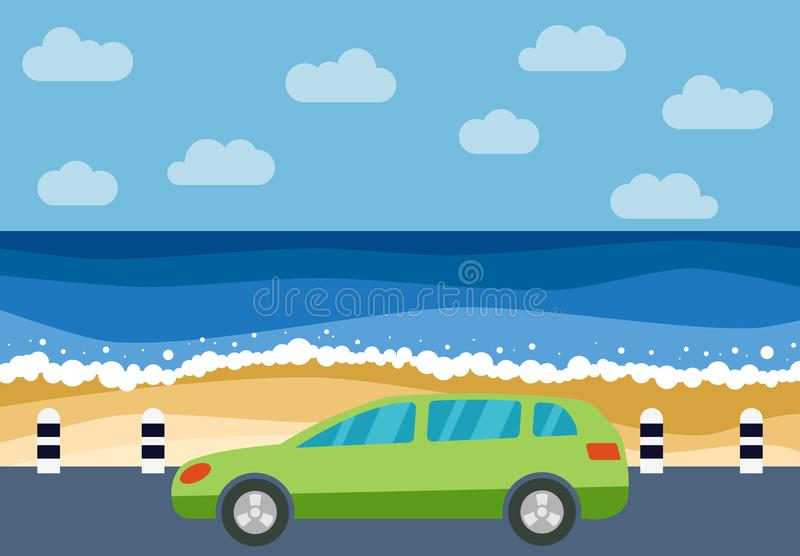 Grön bil på vägen mot bakgrunden av havet royaltyfri illustrationer