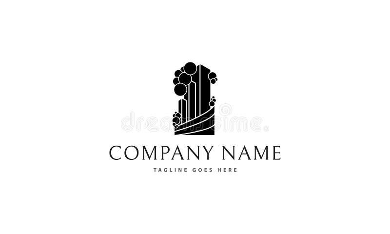 Grön bild för logo för Real Estate svartvektor vektor illustrationer