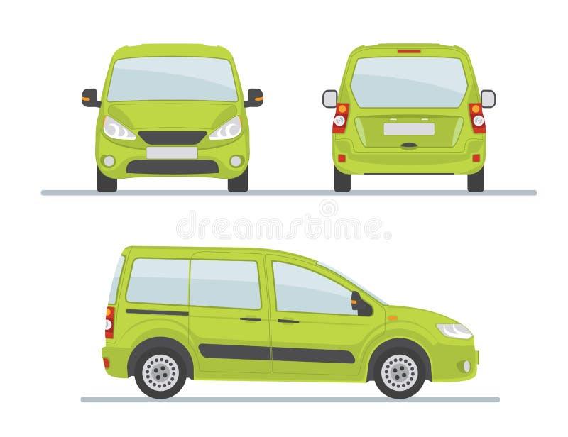 Grön bilsida - framdel - tillbaka sikt royaltyfri illustrationer