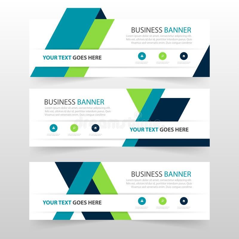 Grön blå mall för baner för företags affär för triangel, horisontaluppsättning för design för lägenhet för mall för orientering f royaltyfri illustrationer