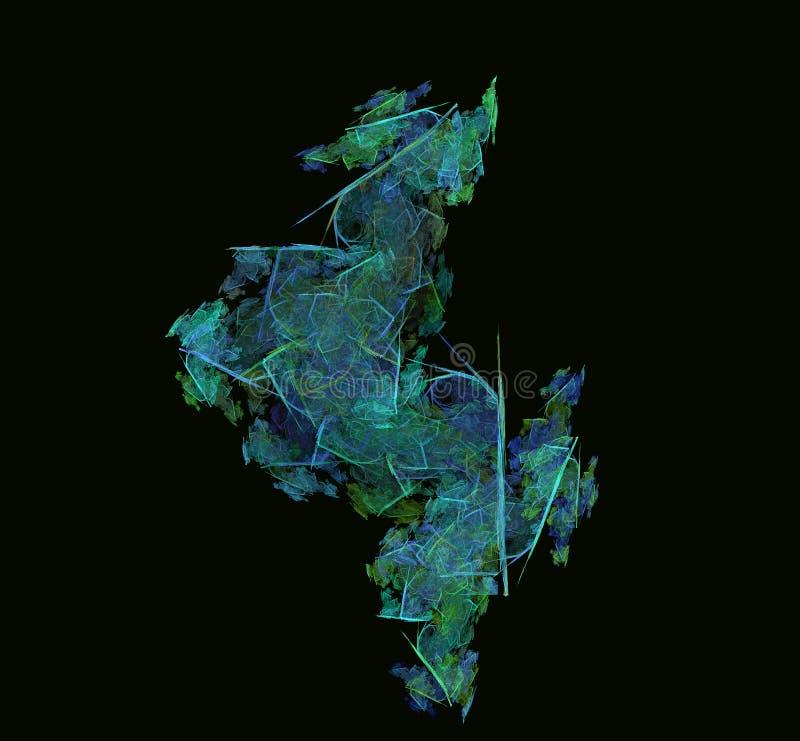 Grön blåttabstrakt begreppfractal Fantasifractaltextur digital röd twirl för abstactkonst djupt framförande 3d dator frambragd bi vektor illustrationer
