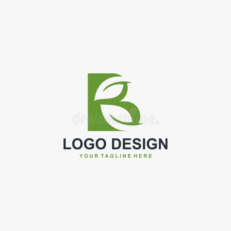 Grön blad- och för monogramlogo för bokstav B för design vektor vektor illustrationer