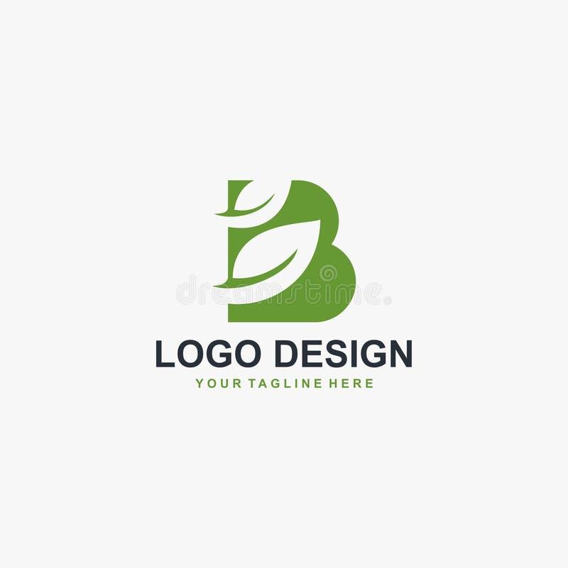 Grön blad- och för monogramlogo för bokstav B för design vektor stock illustrationer